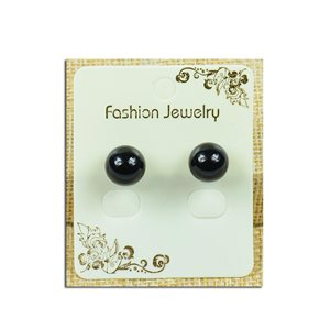 1p Earrings with 10mm Pearl Stone Obsidian - New Collection 77927