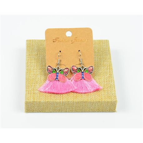 1p Earrings Crochet Tassel and Beads New Ethnic Collection 77947