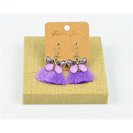 1p Earrings Crochet Tassel and Beads New Ethnic Collection 77948