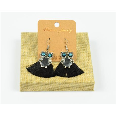 1p Earrings Crochet Tassel and Beads New Ethnic Collection 77949