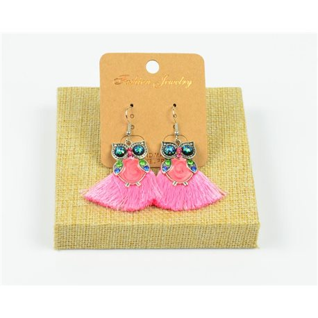 1p Earrings Crochet Tassel and Beads New Ethnic Collection 77951