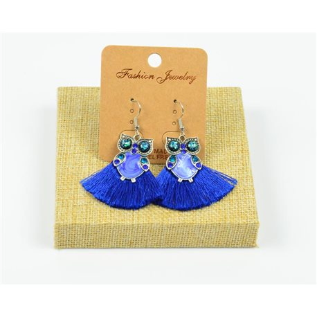 1p Earrings Crochet Tassel and Beads New Ethnic Collection 77952