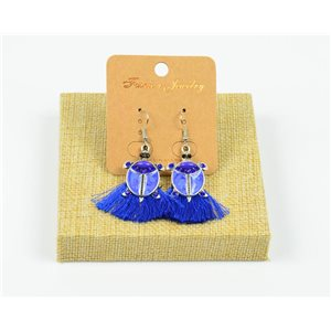 1p Earrings Crochet Tassel and Beads New Ethnic Collection 77956