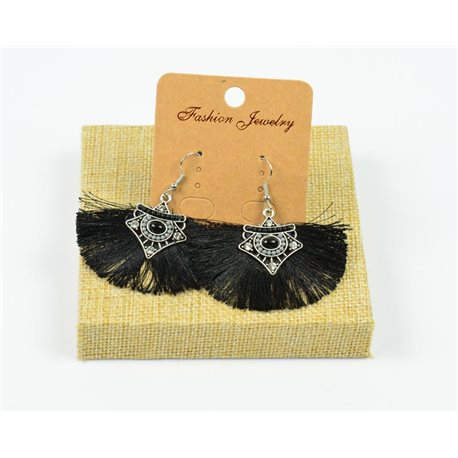 1p Earrings Crochet Tassel and Beads New Ethnic Collection 77961