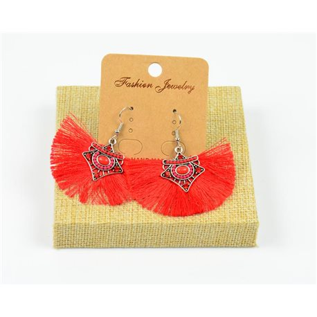 1p Earrings Crochet Tassel and Beads New Ethnic Collection 77962