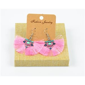 1p Earrings Crochet Tassel and Pearls Ethnic New Collection 77963