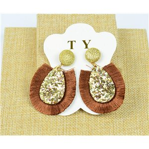 1p Earrings with Nails Pompon and Sequins New Collection Chic 77898