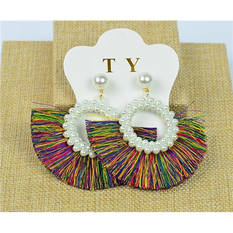1p Earrings with Nail Pompon on Beads New Chic Collection 77913