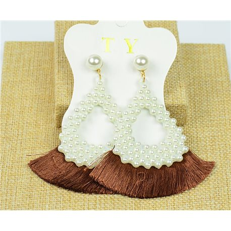 1p Earrings with Nail Pompon on Beads New Chic Collection 77919