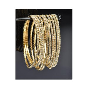 Lot of 10 - Stretch Bracelet Set with Sparkling Rhinestones on Gold Mesh 77808