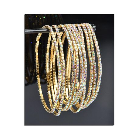Lot of 10 - Stretch Bracelet Set with Sparkling Rhinestones on Gold Mesh 77809