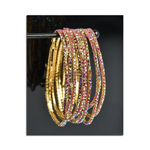 Batch of 10 - Stretch Bracelet Set with Sparkling Rhinestones on Gold Mesh 77817
