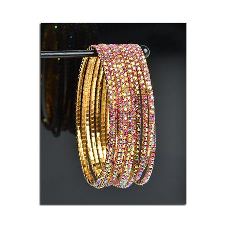 Lot of 10 - Stretch Bracelet Set with Sparkling Rhinestones on Gold Mesh 77818