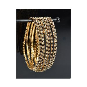 Lot of 10 - Stretch Bracelet Set with Sparkling Rhinestones on Gold Mesh 77847