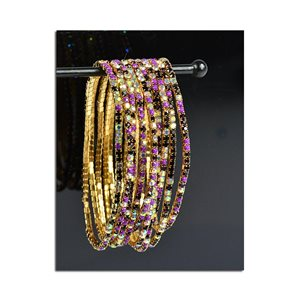 Batch of 10 - Stretch Bracelet Set with Sparkling Rhinestones on Gold Mesh 77852