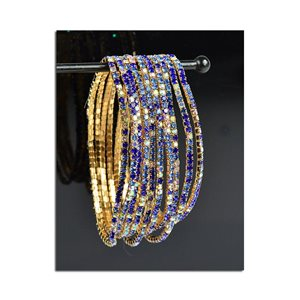 Lot of 10 - Stretch Bracelet Set with Sparkling Rhinestones on Gold Mesh 77855