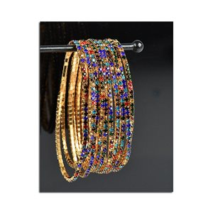 Batch of 10 - Stretch Bracelet Set with Sparkling Rhinestones on Gold Mesh 77857