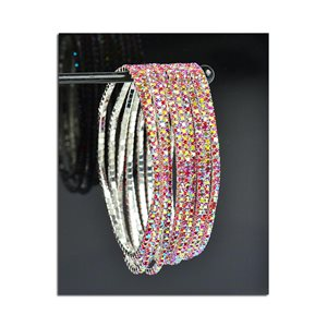 Lot of 10 - Stretch Bracelet Set with Sparkling Rhinestones on Silver Mesh 77819