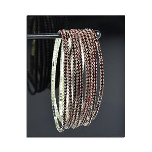 Lot of 10 - Stretch Bracelet Set with Sparkling Rhinestones on Silver Mesh 77820