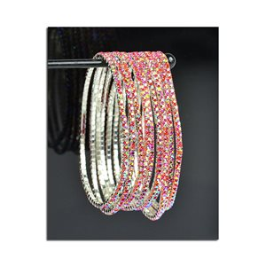 Lot of 10 - Stretch Bracelet Set with Sparkling Rhinestones on Silver Mesh 77821