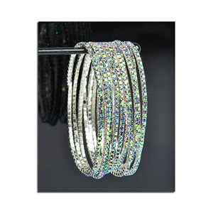 Lot of 10 - Stretch Bracelet Set with Sparkling Rhinestones on Silver Mesh 77822