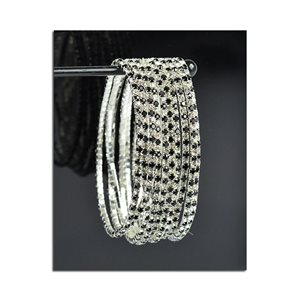 Pack of 10 - Stretch Bracelet Set with Sparkling Rhinestones on Silver Mesh 77827