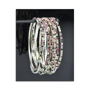 Lot of 10 - Stretch Bracelet Set with Sparkling Rhinestones on Silver Mesh 77828