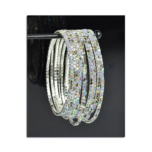 Lot of 10 - Stretch Bracelet Set with Sparkling Rhinestones on Silver Mesh 77829
