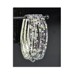 Batch of 10 - Stretch Bracelet Set with Sparkling Rhinestones on Silver Mesh 77830