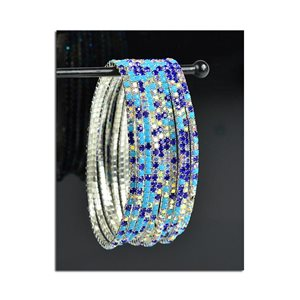 Pack of 10 - Stretch Bracelet Set with Sparkling Rhinestones on Silver Mesh 77834