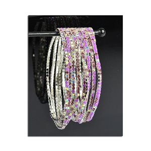 Lot of 10 - Stretch Bracelet Set with Sparkling Rhinestones on Silver Mesh 77840