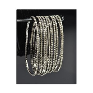 Lot of 10 - Stretch Bracelet Set with Sparkling Rhinestones on Anthracite Mesh 77807