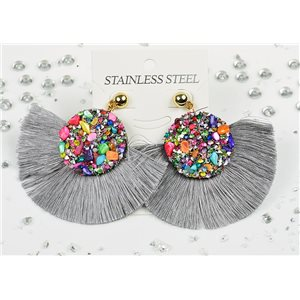 1p Earrings Nail Stud Stainless Steel Decor Stone and Rhinestone New Collection 77711