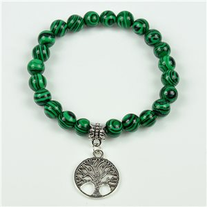 Charm Bracelet Tree of Life Pearls 8mm in Malachite Stone on elastic thread 78127