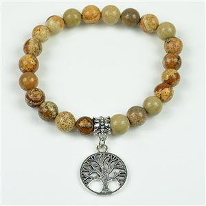 Lucky Tree of Life Beads Bracelet 8mm in Jasper Stone Landscape on elastic thread 78129