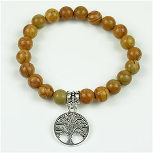 Lucky Tree of Life Beads Bracelet 8mm in Jasper Stone Wood on elastic thread 78130