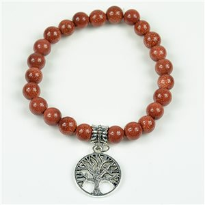 Charm Bracelet Tree of Life Pearls 8mm in Sun Stone on elastic thread 78132