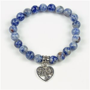 Lucky Tree of Life Beads Bracelet 8mm in Agate Lilac Stone on elastic thread 78140