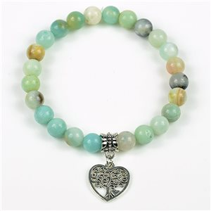 Lucky Tree of Life Beads Bracelet 8mm in Jasper Stone on elastic thread 78142