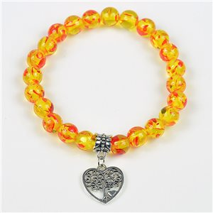 Lucky Tree of Life Beads Bracelet 8mm in Amber Stone * Flower on elastic thread 78144