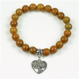 Lucky Tree of Life Beads Bracelet 8mm in Jasper Stone Wood on elastic thread 78146