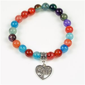 Lucky Tree of Life Beads Bracelet 8mm in Agate Stone multicolor on elastic thread 78150