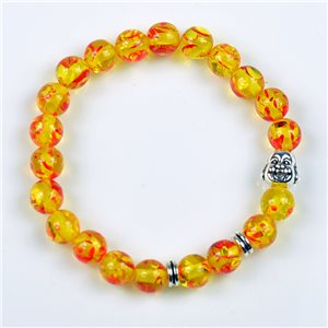Lucky Buddha Beads Bracelet 8mm in Amber Stone * Flower on elastic thread 78159