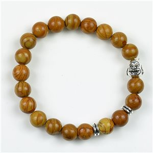 Lucky Buddha Beads Bracelet 8mm in Jasper Stone Wood on elastic thread 78161