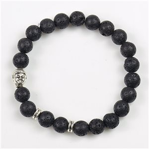 Lucky Buddha Beads Bracelet 8mm Lava Stone on elastic thread 78167