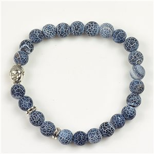 Lucky Buddha Beads Bracelet 8mm in Agate Marbled Stone on Elastic Wire 78171