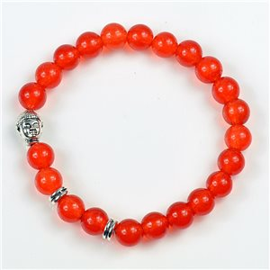 Charm Bracelet Buddha Pearls 8mm in Carnelian Stone on elastic thread 78179