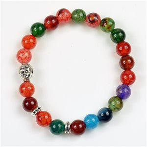 Lucky Buddha Beads Bracelet 8mm in Agate Stone multicolor on elastic thread 78180
