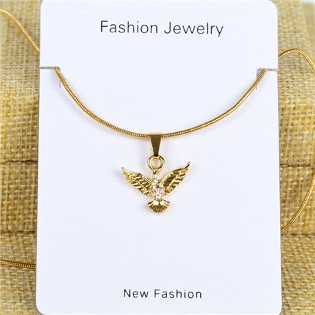 IRIS Gold Color Rhinestone Pendant Necklace Snake chain L40-45cm 78281