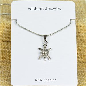 IRIS Silver Color Rhinestone Pendant Necklace Snake chain L40-45cm 78288